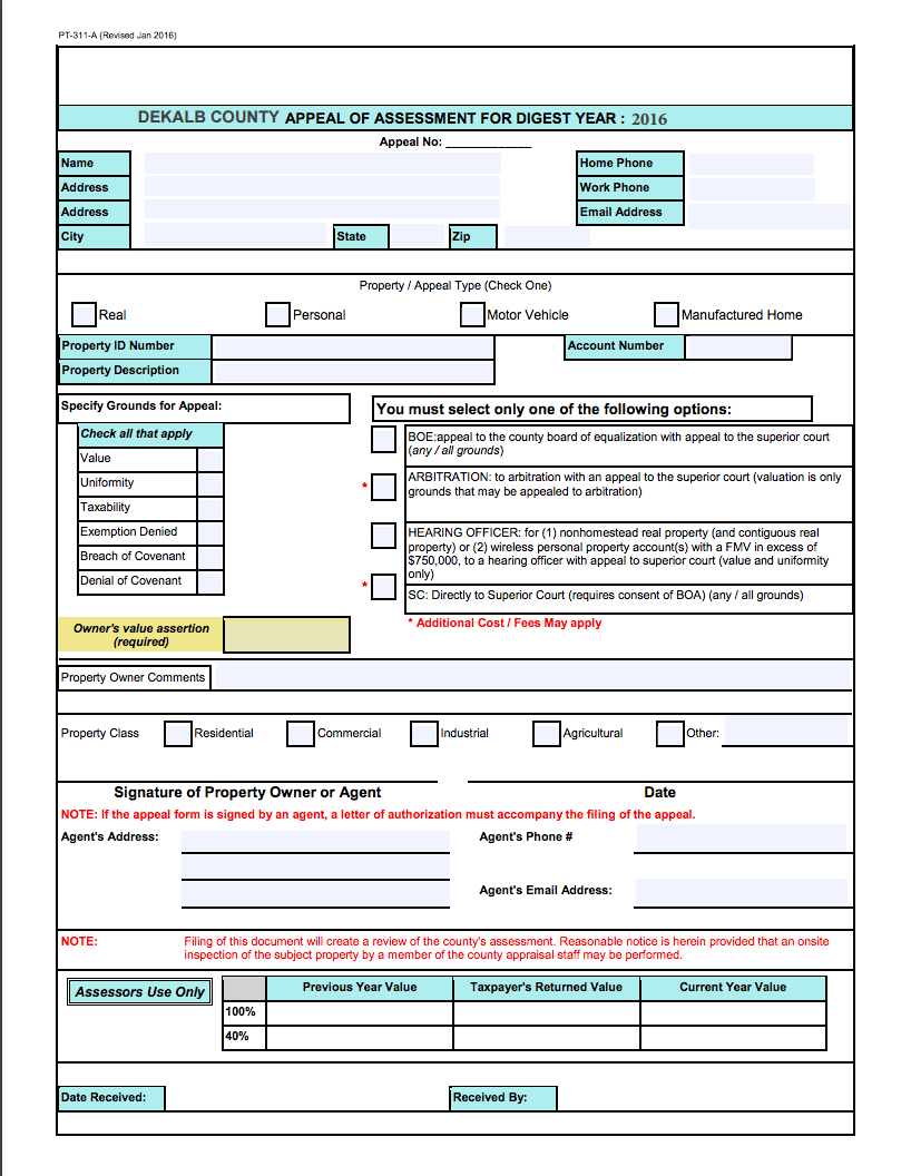 2016 Appeal Form
